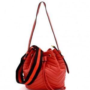 Red Chevron Quilted Drawstring Shoulder Bag